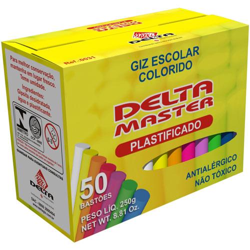 Giz Escolar Delta Master Colorido Plastificado 50 Palitos Rf 0031