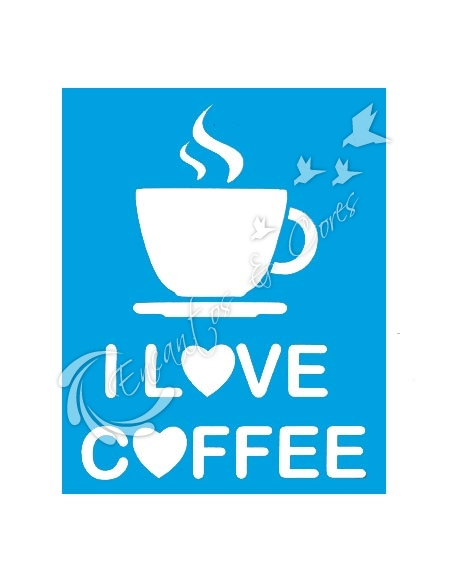 STENCIL 15X20 JC 1200 I LOVE COFFEE