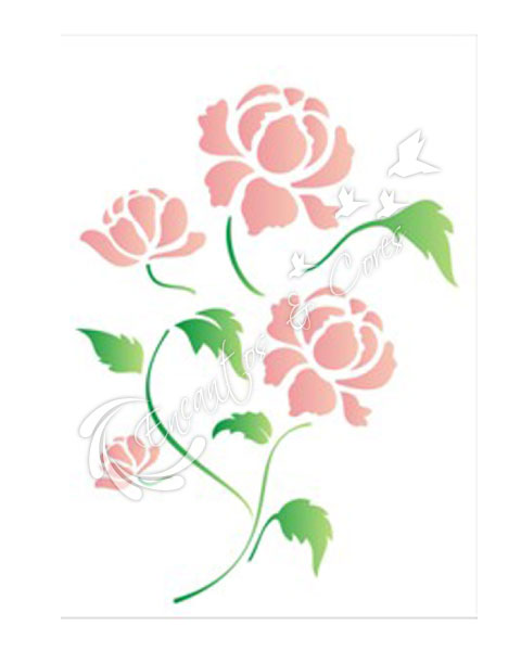 STENCIL 15X20 FLOR PEONIA OPA1317