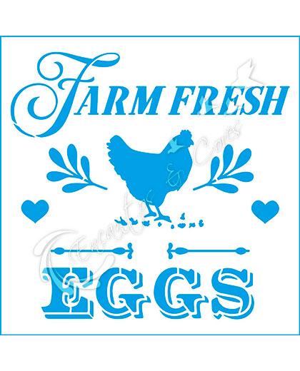 STENCIL LITOARTE STA-142 FARM FRESH EGGS