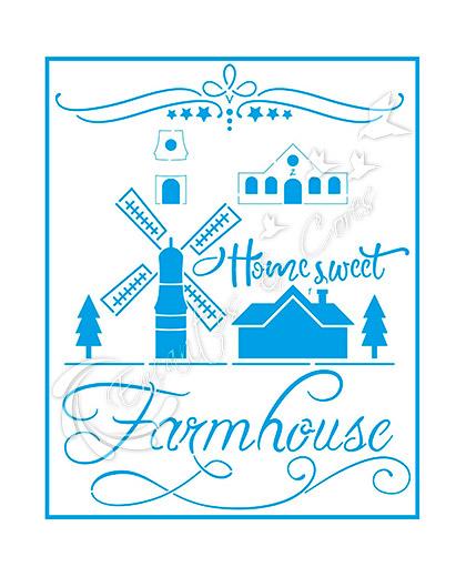 STENCIL LITOARTE STR-192 COUNTRY FARM HOUSE