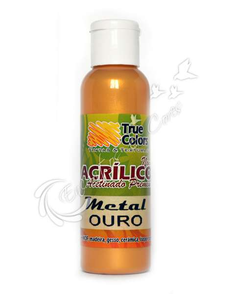 TINTA ACRILICA ACETINADA TRUE COLORS METAL OURO 60 ML REF 67394