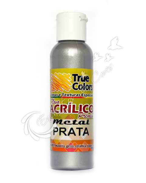 TINTA ACRILICA ACETINADA TRUE COLORS METAL PRATA 60 ML REF 67392